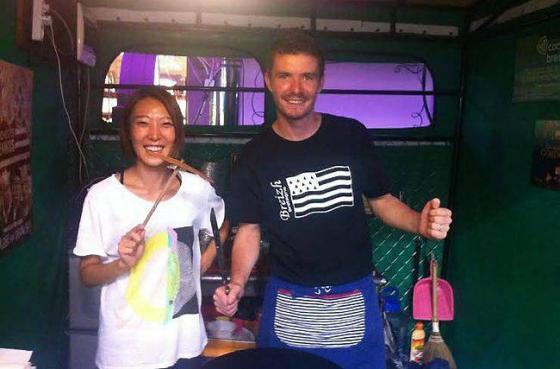 Arnaud Landrin et sa femme, Yeon-Jung