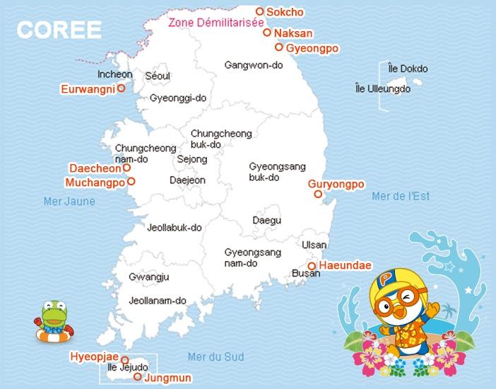 Carte des principales plages de Corée