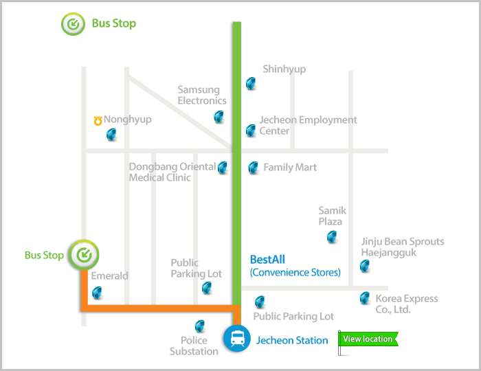 Carte de l'arrêt Jecheon Station du bus 900