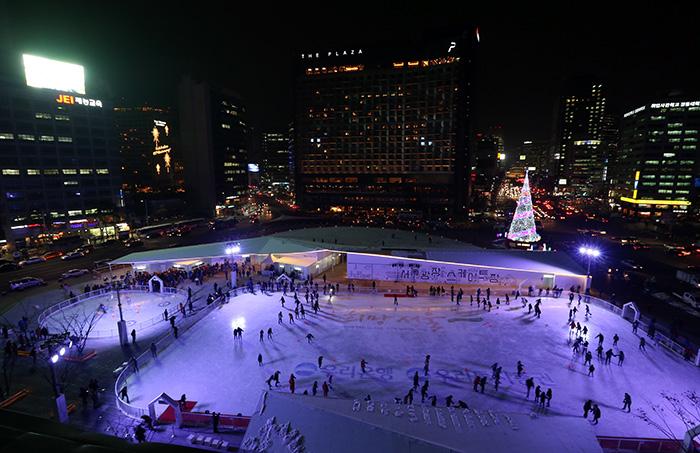 nouvel an à Séoul - patinoire à Séoul Plaza