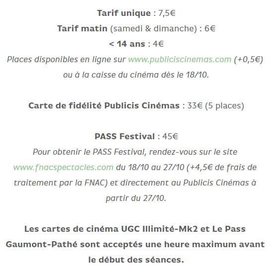 Tarif Festival du Film Coréen de Paris