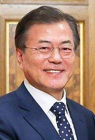 L'actuel président sud-coréen Moon Jae In (2017-).