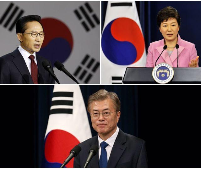 Le Président lee Myung Bak, la Présidente Park Geun Hye et le Président Moon Jae In