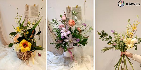 Trois exemples de composition en cours d'art floral